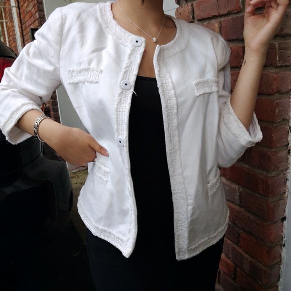 Talbots Jackets & Blazers - Pure White  Fringe Blazer
